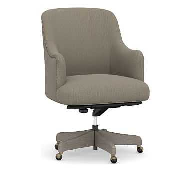 Reeves Upholstered Swivel Desk Chair, Gray Wash Frame, Chenille Basketweave Taupe - Pottery Barn