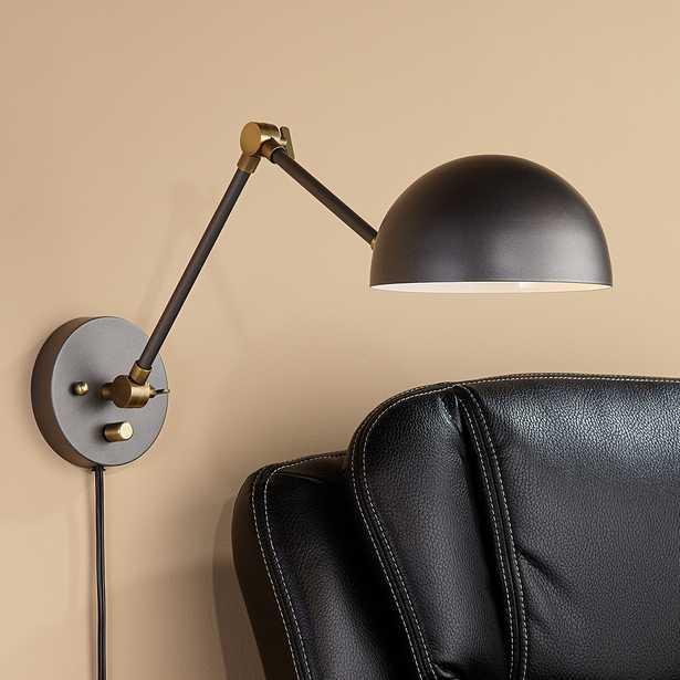 Kenora Gunmetal and Brass Plug-In Swing Arm Wall Lamp - Style # 76D36 - Lamps Plus