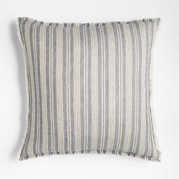"""Arla 23"""" Eyelash Striped Blue Pillow Cover with Feather-Down Insert - Crate and Barrel"""
