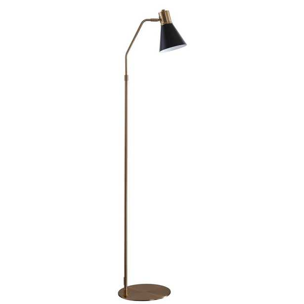 Safavieh Grania 60 in. Black/Brass Gold Floor Lamp with Black Shade - Home Depot
