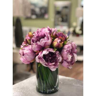 Peony Floral Arrangement in Glass Pot - Birch Lane