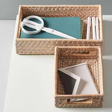 Modern Weave Basket, Whitewashed, Set of 2 - West Elm