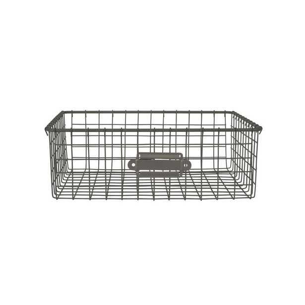 Spectrum 12 in. D x 9 in. W x 4 in. H Industrial Gray Vintage Steel Wire Storage Basket - Home Depot