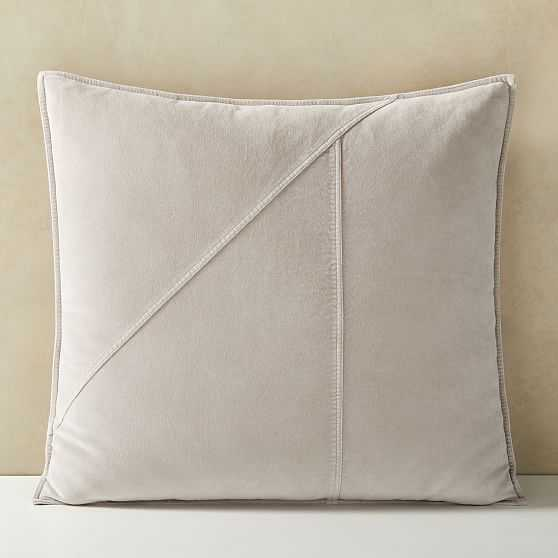 """Washed Cotton Velvet Pillow Cover, 24""""x24"""", Pearl Gray - West Elm"""