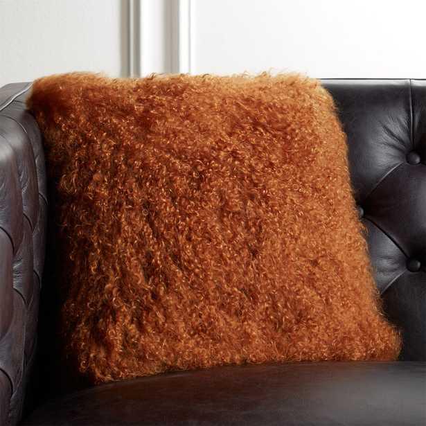 "16"" Mongolian Sheepskin Copper Fur Pillow with Feather-Down Insert - CB2"