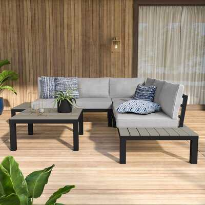 Claunch 4 Piece Sectional Seating Group with Cushions - Wayfair
