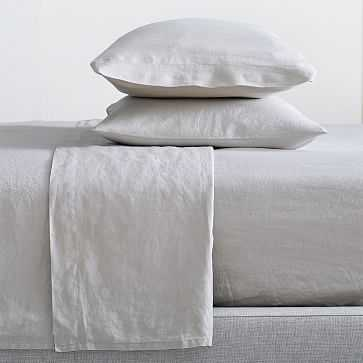 Belgian Linen Sheet Set, King, Frost Gray - West Elm