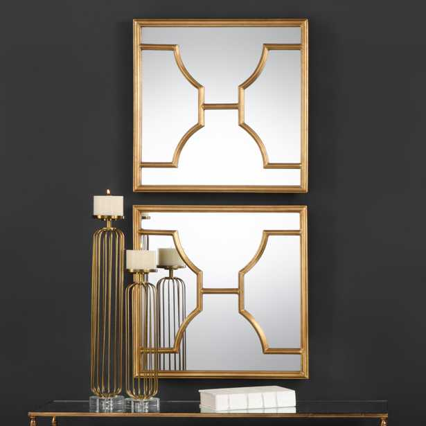 Misa Gold Square Mirrors S/2 - Hudsonhill Foundry