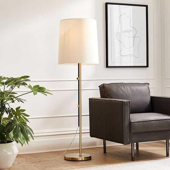 Hex Adjustable Floor Lamp, Dark Bronze, Antique Brass - West Elm