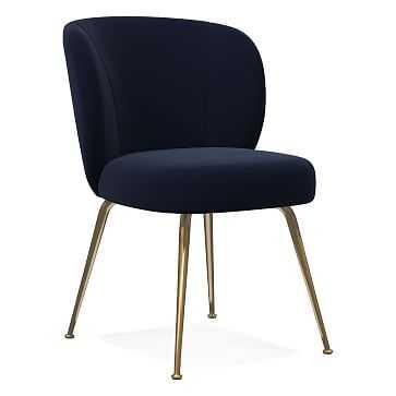 Greer Dining Chair, Distressed Velvet, Ink Blue, Light Bronze - West Elm