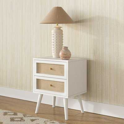 Morrow Solid Wood With Cane 2-Drawer Nightstand - Wayfair