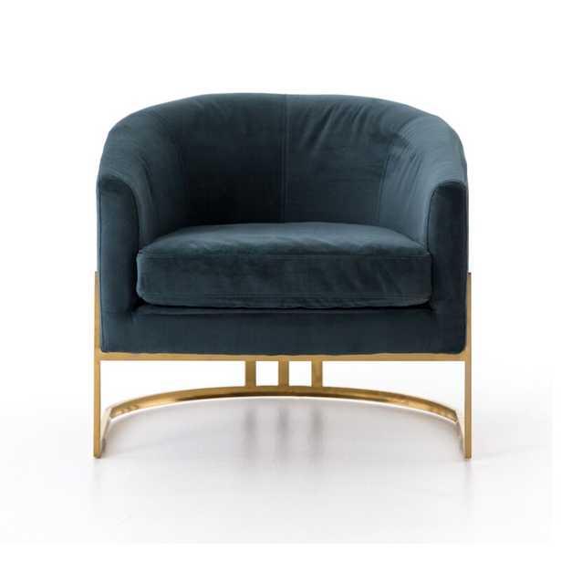 Four Hands Corbin Barrel Chair Fabric: Blue - Perigold