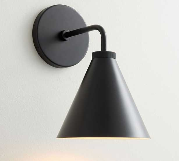 Fairmont Outdoor Tapered Metal Sconce, Matte Black - Pottery Barn