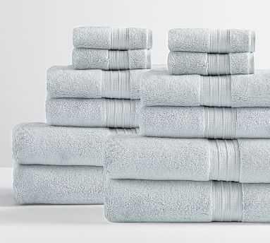 Hydrocotton Organic Bath, Hand, & Washcloth Towels, Set of 12, Porcelain Blue - Pottery Barn