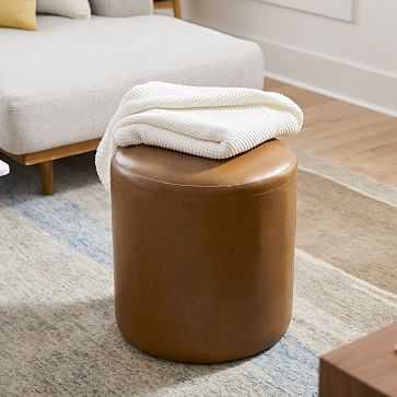 Isla Ottoman, Small, Ludlow Leather, Sesame, Concealed Support - West Elm