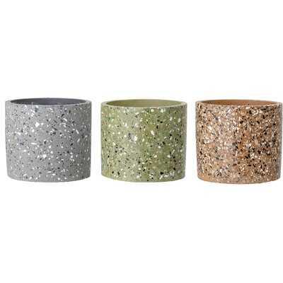 Sheringham Round Speckled 3-piece Cement Pot Planter Set - AllModern