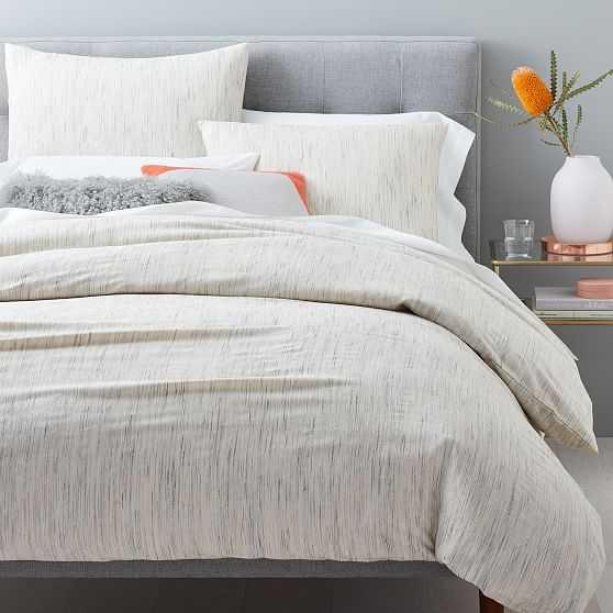 Organic Washed Melange Jacquard Duvet & Standard Shams, Natural, Full/Queen - West Elm