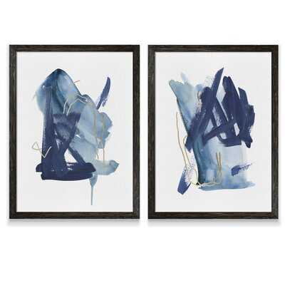 'Indigo Collide I' by Melissa Wang - 2 Piece Picture Frame Painting Print Set - Wayfair