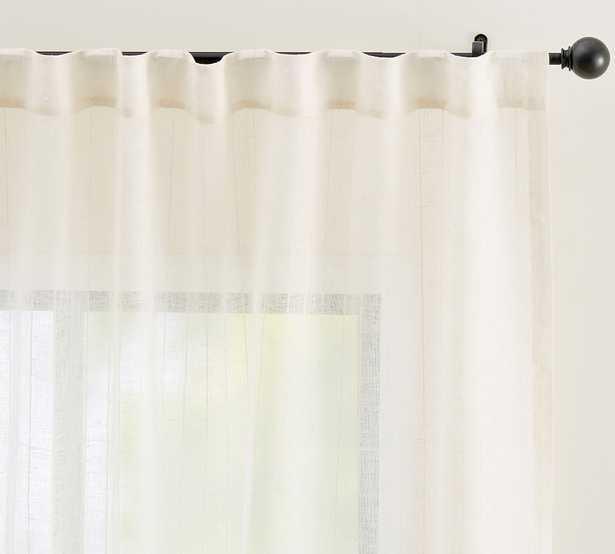 """Emery Pinstripe Rod Pocket Sheer Curtain, 50 x 108"""", Ivory - Pottery Barn"""