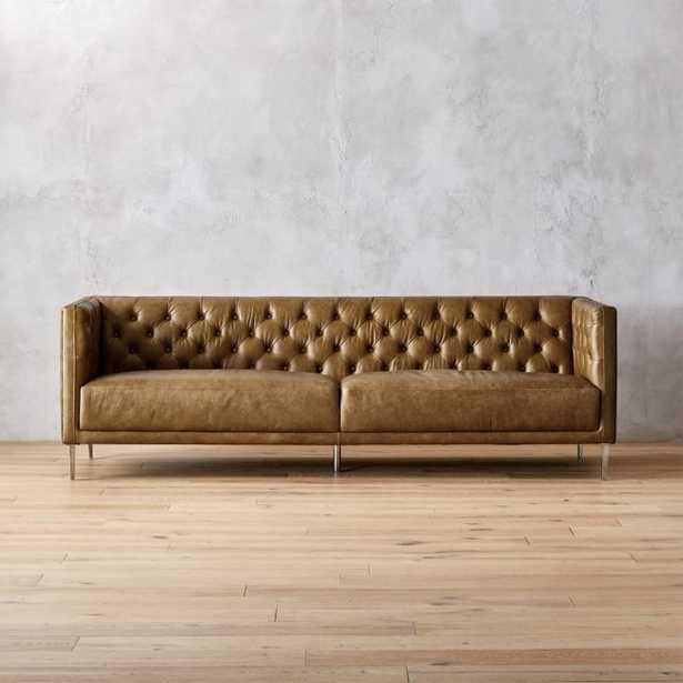 Savile Saddle Leather Tufted Sofa - CB2