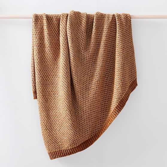 "Honeycomb Chenille Throw, 50""x60"", Golden Oak - West Elm"