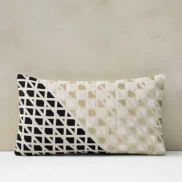 """Split Grid Pillow Cover, 12""""x21"""", Black Stone - West Elm"""
