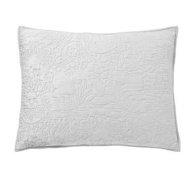 Monique Lhuillier Blossom Embroidered Cotton Sham, Standard, Gray - Pottery Barn