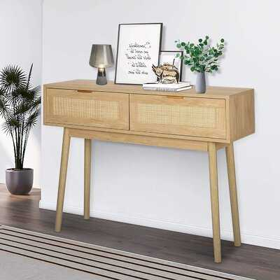 """39"""" Console Table, Oak Grain Sofa Table With Wood Frame, Rustic Hallway Table With 2 Bamboo Weaving Storage Drawers For Foyer Living Room Entryway - Wayfair"""