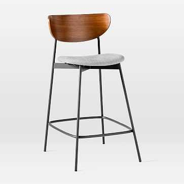Modern Petal Upholstered Counter Stool, Basket Slub Platinum, Dark Walnut + Antique Bronze - West Elm