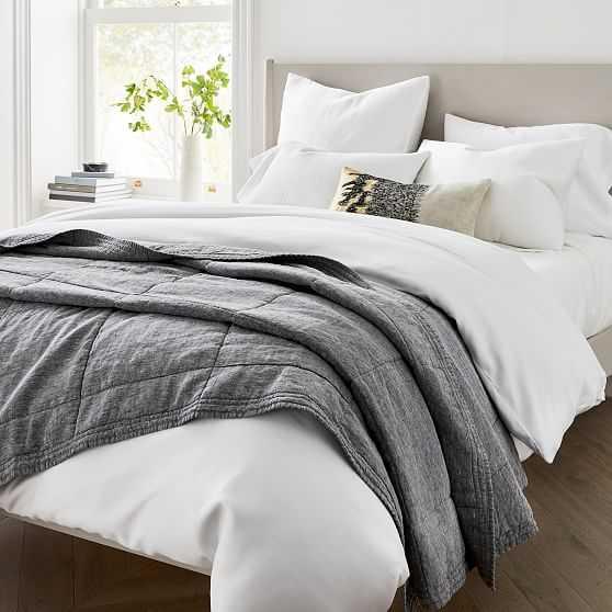 Belgian Linen Quilt, Full/Queen, Slate Melange - West Elm