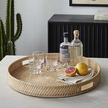 Merida Rattan Round Tray 24in, Natural - West Elm