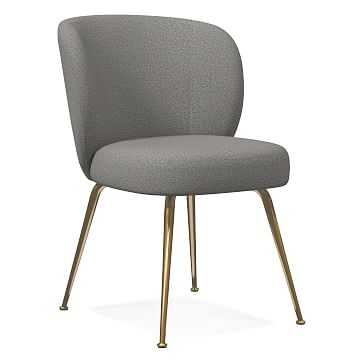 Greer Dining Chair, Chenille Tweed, Feather Gray, Light Bronze - West Elm