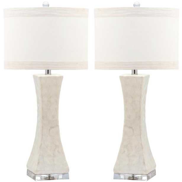 Safavieh Shelley 30 in. White Concave Table Lamp (Set of 2) - Home Depot