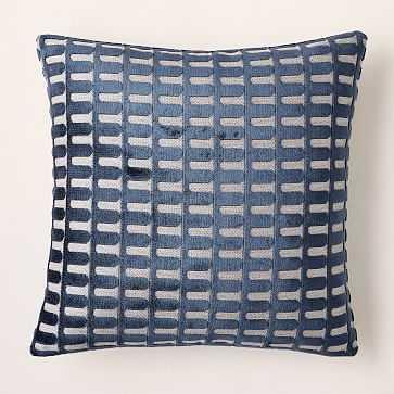 """Cut Velvet Archways Pillow Cover, 20""""x20"""", Regal Blue - West Elm"""