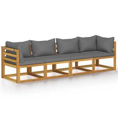Latitude Run® 4-Seater Garden Sofa With Cushion Solid Acacia Wood - Wayfair