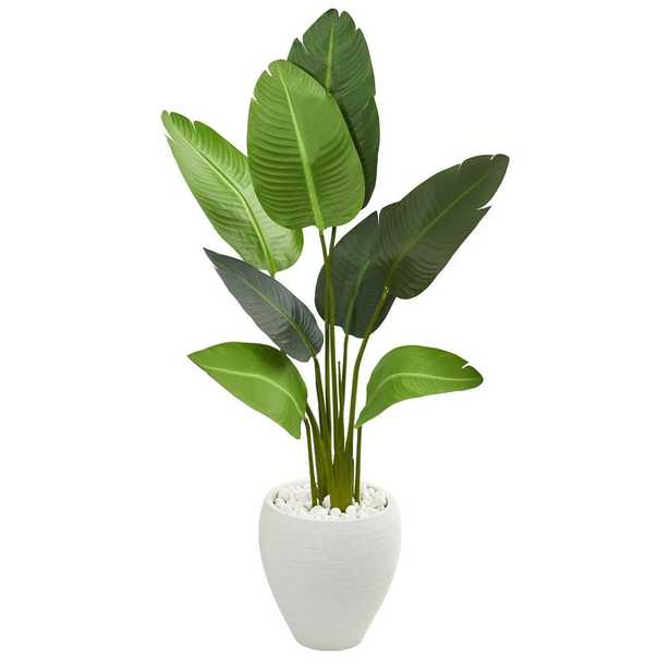 Indoor 4 ft. Travelers Artificial Palm Tree in Oval Planter - Home Depot
