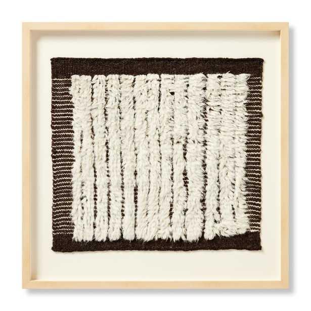 "WOOD FRAME PUNOO IVORY / BLACK 2'-8"" x 2'-8"" WALL ART - Loma Threads"