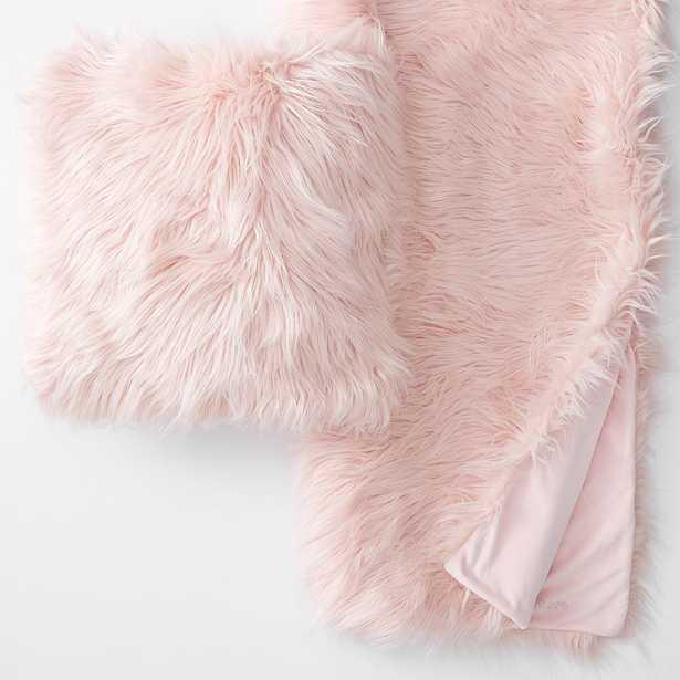Himalayan Faux-Fur Pillow & Throw Set, 18X18, Himilayan Blush - Pottery Barn Teen