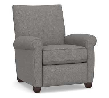 Grayson Roll Arm Upholstered Recliner, Polyester Wrapped Cushions, Performance Chateau Basketweave Blue - Pottery Barn