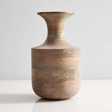 Mcm Wood Vase, Tall Genie Bottle, Whitewash + Mango Wood - West Elm
