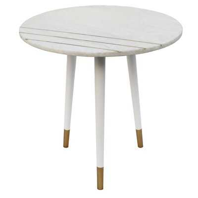 Gail Round Side Table with Aluminum Legs and Brass Inlaid Marble Top - White - Wayfair
