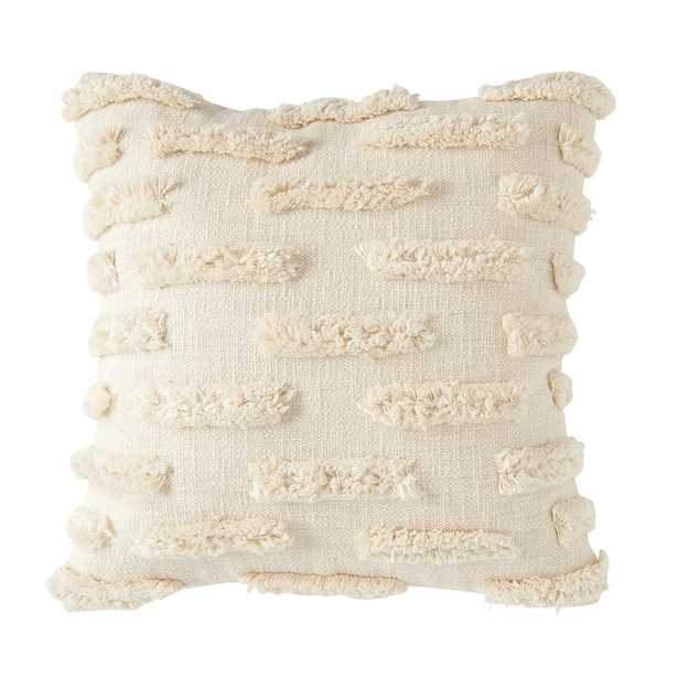 3R Studios White Fringe Embroidered 20 in. x 20 in. Throw Pillow - Home Depot