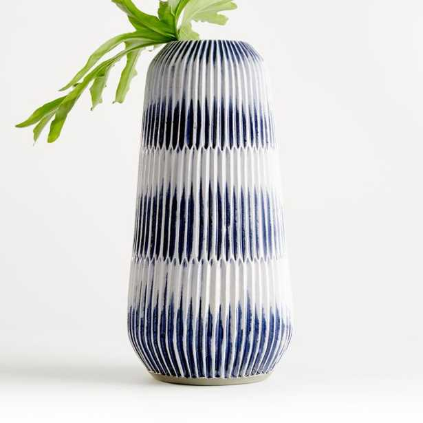 Piega Large Blue and White Vase - Crate and Barrel