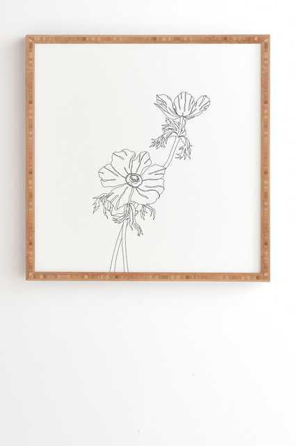 """Botanical Illustration Joan by The Colour Study - Framed Wall Art Bamboo 20"""" x 20"""" - Wander Print Co."""