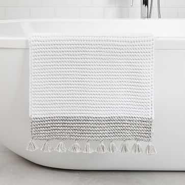 "Organic Space Dyed Hand Knit Bathmat, 17""x25', Gray Sky - West Elm"