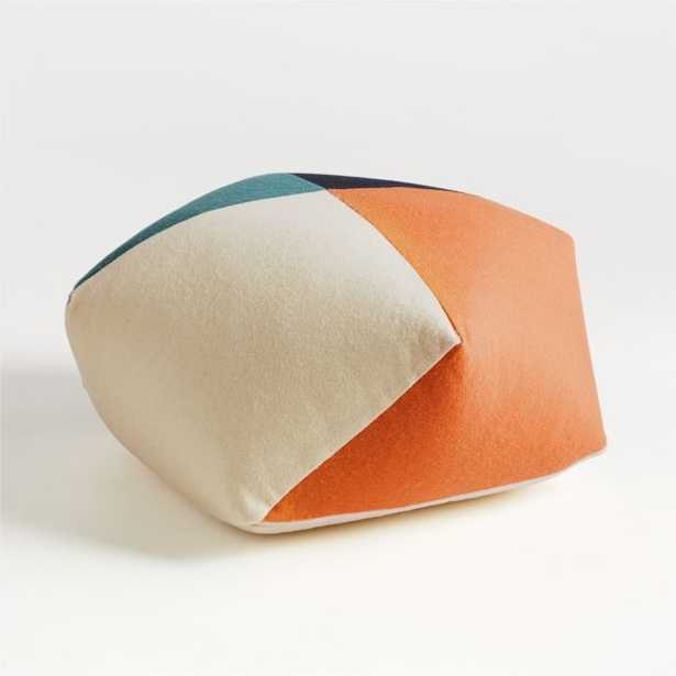 Blue and Orange Pentagon Pouf - Crate and Barrel