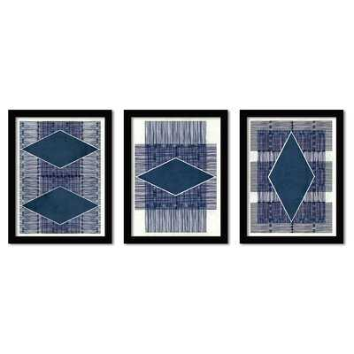 'Blue Ink' by Hope Bainbridge - 3 Piece Picture Frame Graphic Art Set - Wayfair