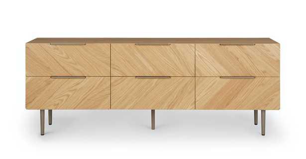 Nera Oak 6 Drawer Low Double Dresser - Article