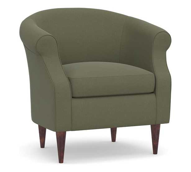 SoMa Lyndon Upholstered Armchair, Polyester Wrapped Cushions, Performance Heathered Velvet Olive - Pottery Barn