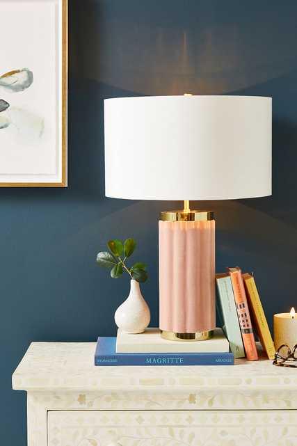 Marilyn Velvet Table Lamp- Rose - Anthropologie